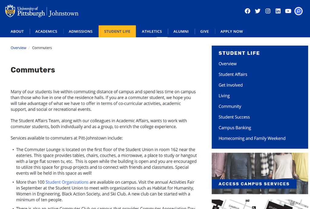 Screenshot of Johnstown Commuter Resources Page