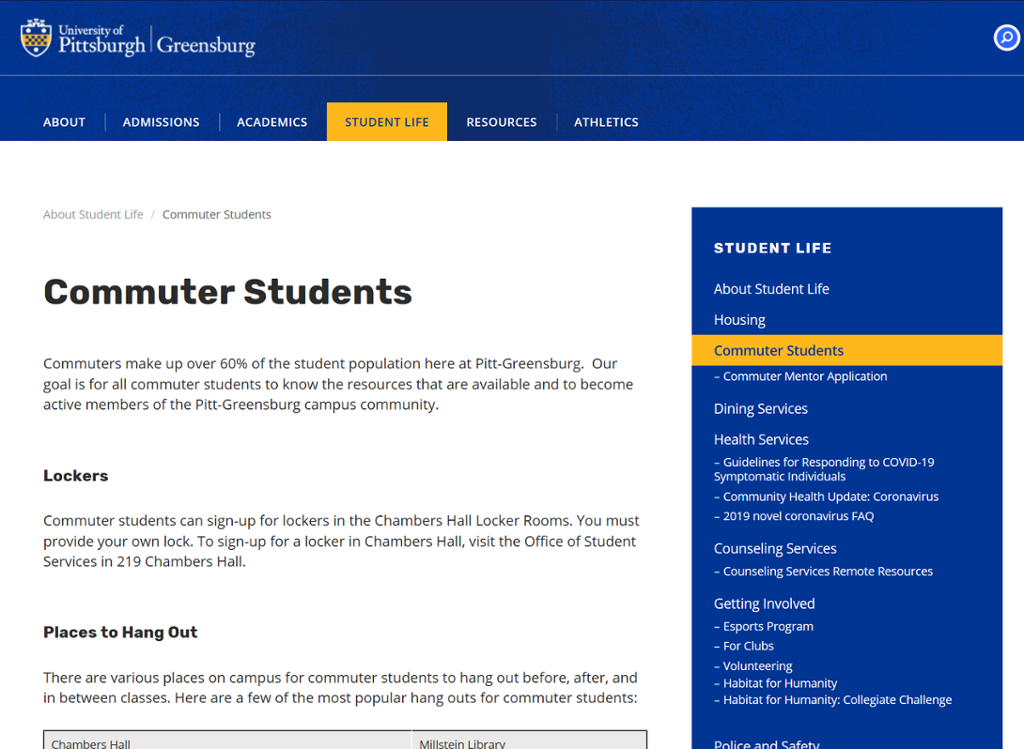 Screenshot of Greensburg Commuter Resources page