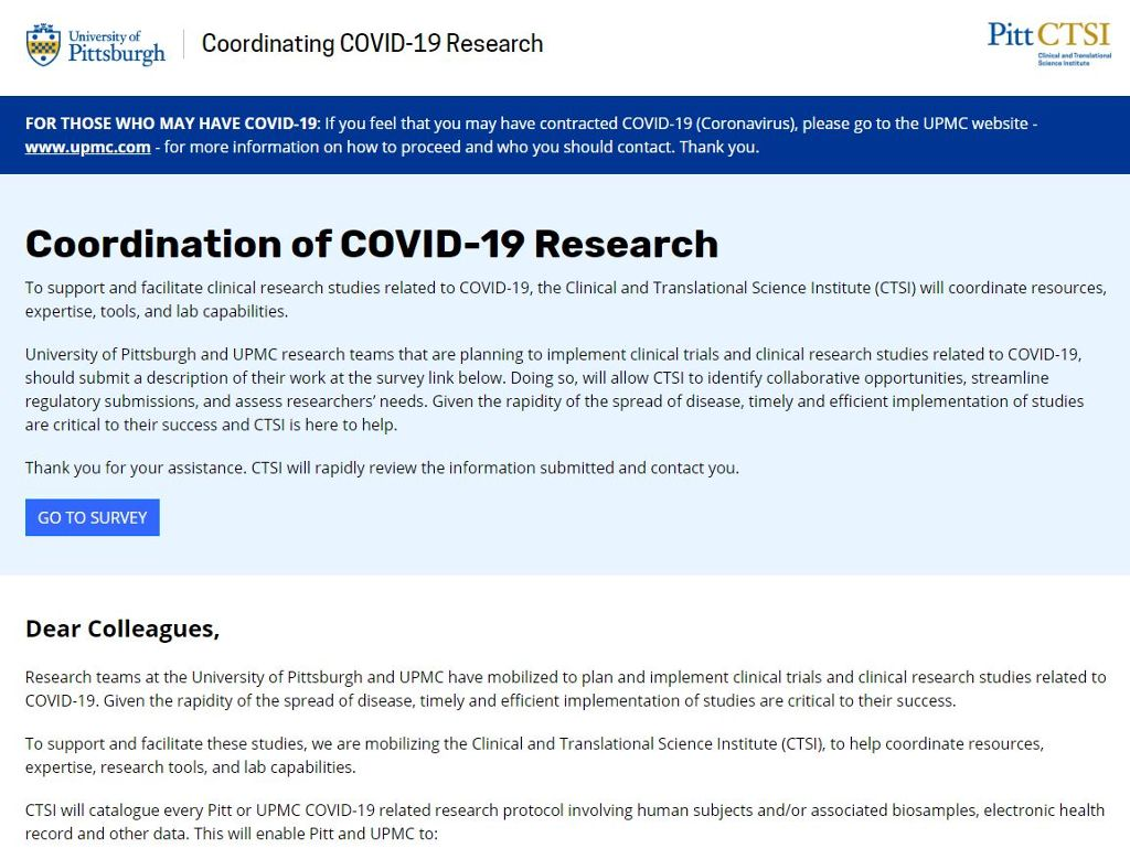 Clinical and Translational Science Institute (CTSI) COVID-19 Research coordination page screen shot of text.