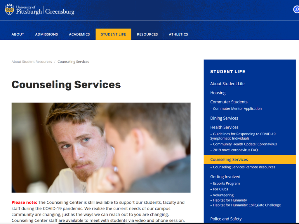 Screenshot of Greensburg Counseling page with picture of two men talking to each other
