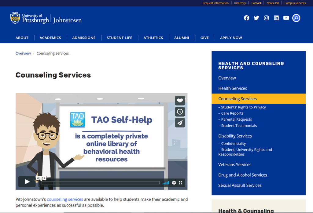 Screenshot of Johnstown Counseling page