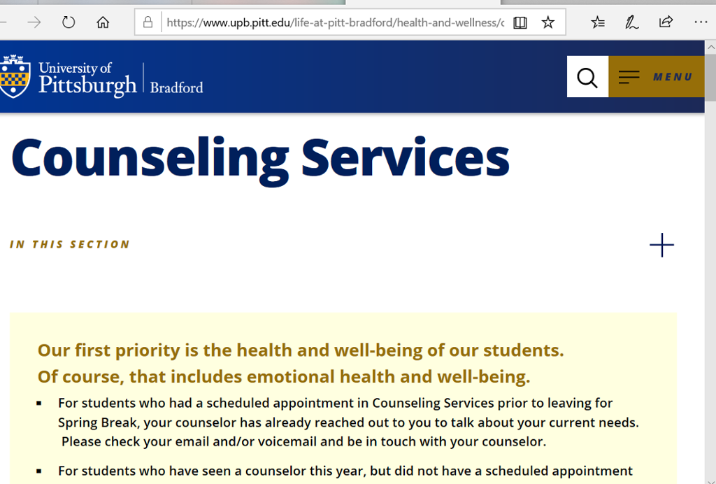 Screenshot of Bradford Counseling Services page