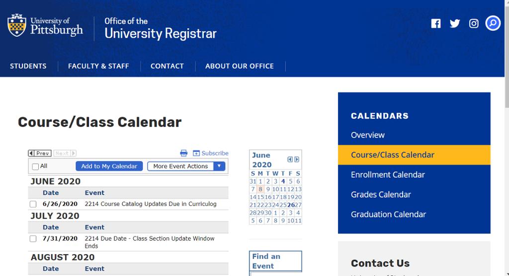 Image of the course/class calendar