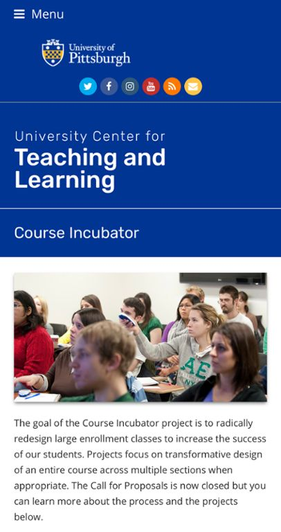 Course Incubator web page