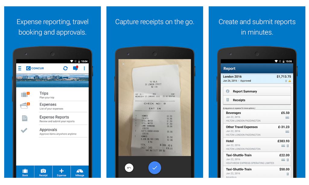 Concur Travel Management App Screen Shot