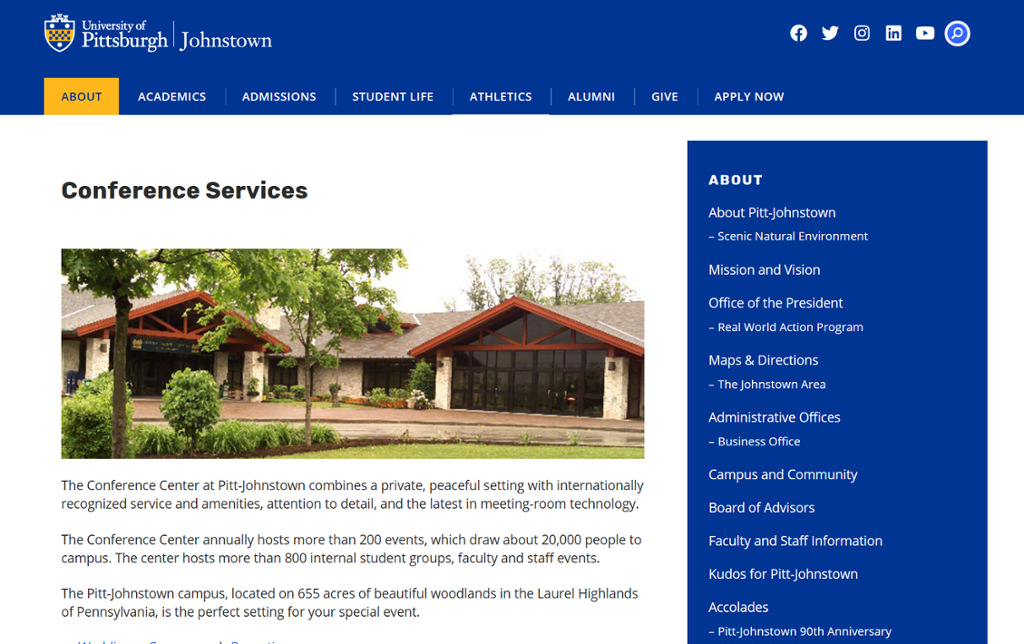 Screenshot of Johnstown Conference Services page with picture of a campus building