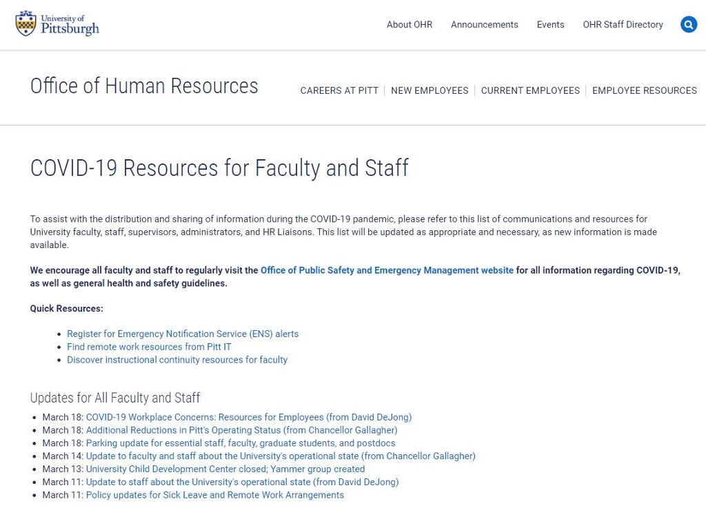 Screen shot of the Human Resources COVID-19 Resources for Faculty and Staff with a list of resources.