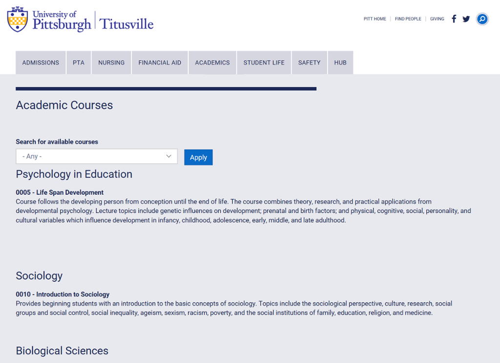 Screenshot of Titusville Courses page with course search bar