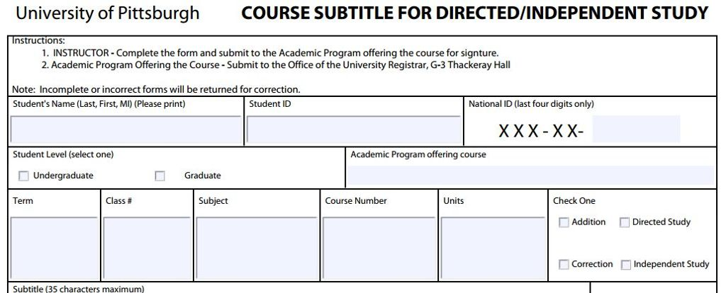 Course Subtitle Request Form for Directed/Independent Study