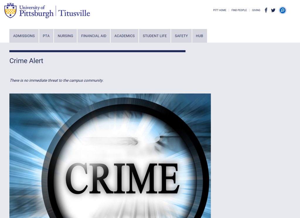 "Screenshot of Titusville Crime Alert page with picture of a flashlight that has ""Crime"" written on it"