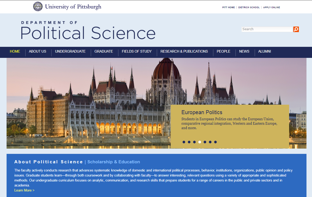 Department of Political Science home page screen shot.