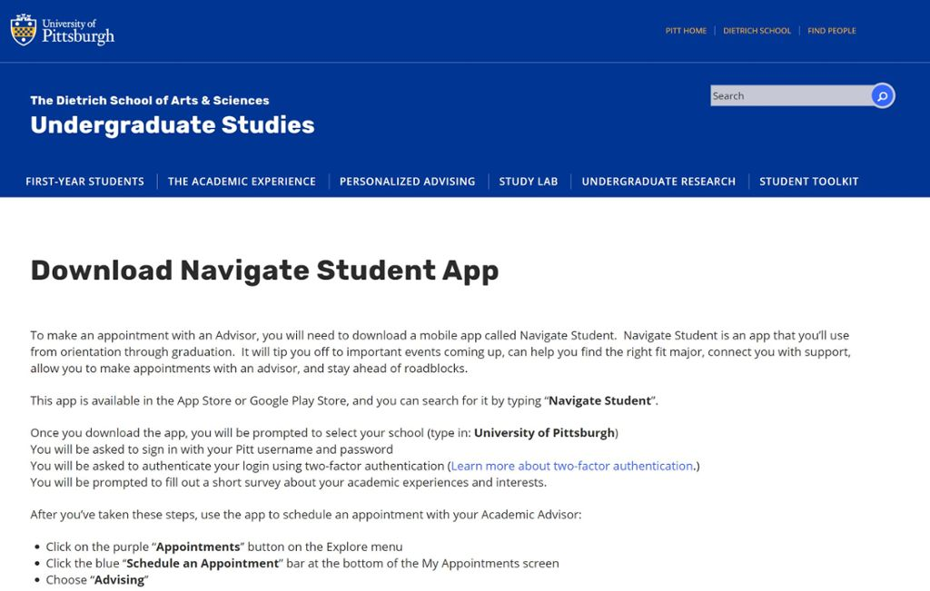 Screen shot of Navigate advising scheduled web page.