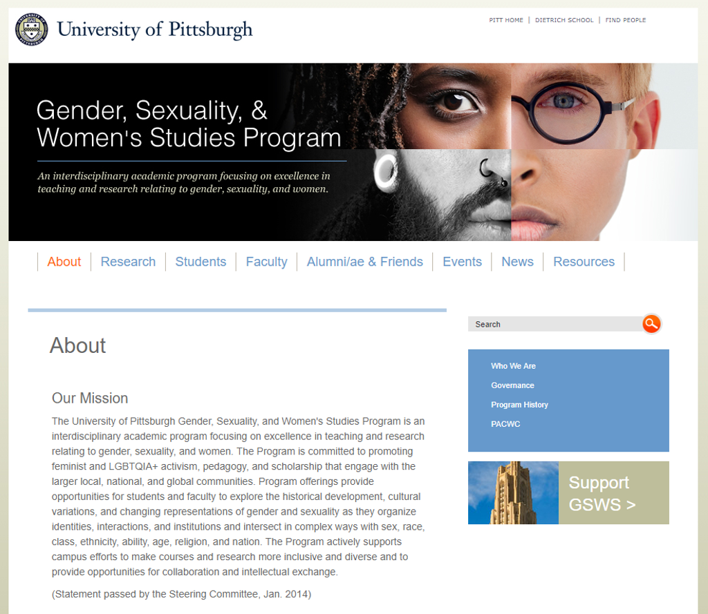 Screen shot of Gender/Sexuality web page.