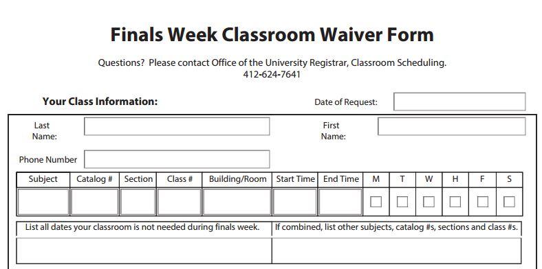 Finals Week Classroom Waiver Form