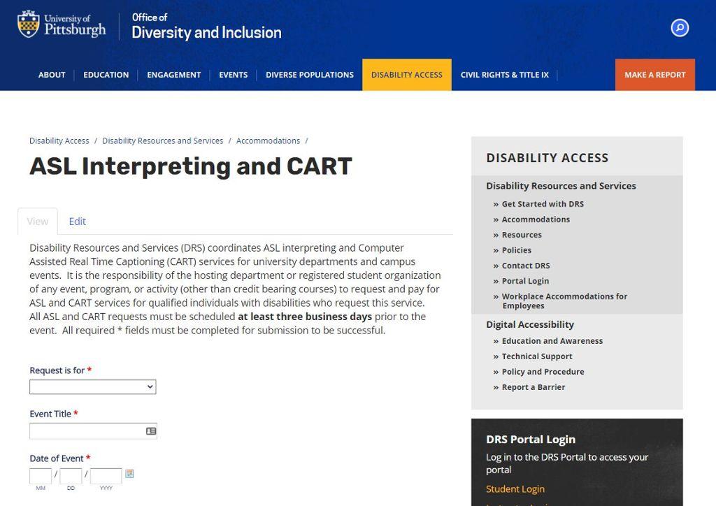 Screenshot of interpreter request form