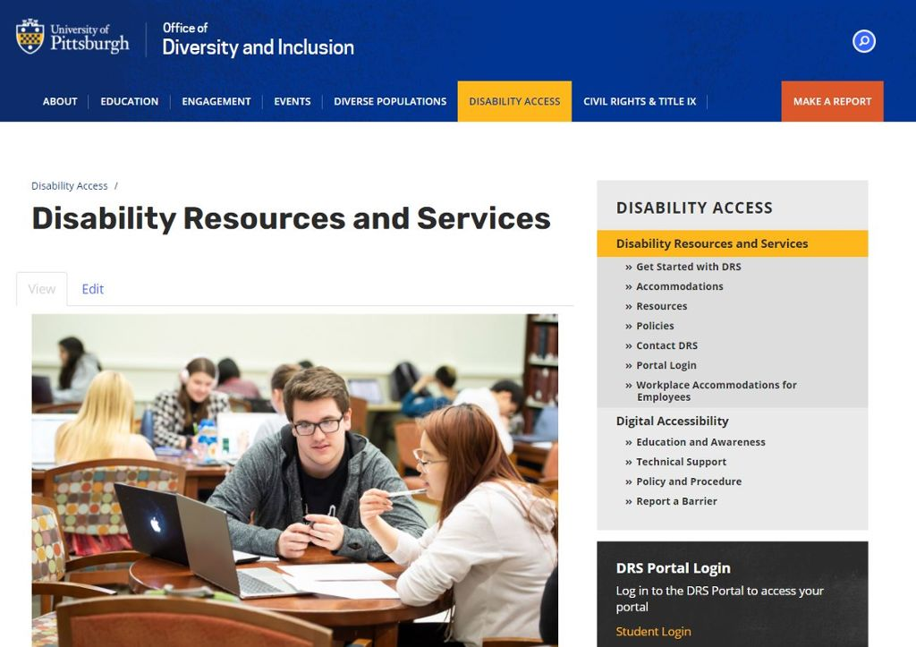 Screenshot of Disability Resources and Services landing page