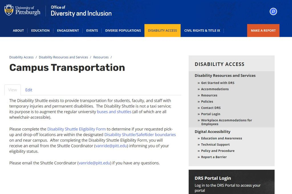 Screenshot of Disability Shuttle landing page
