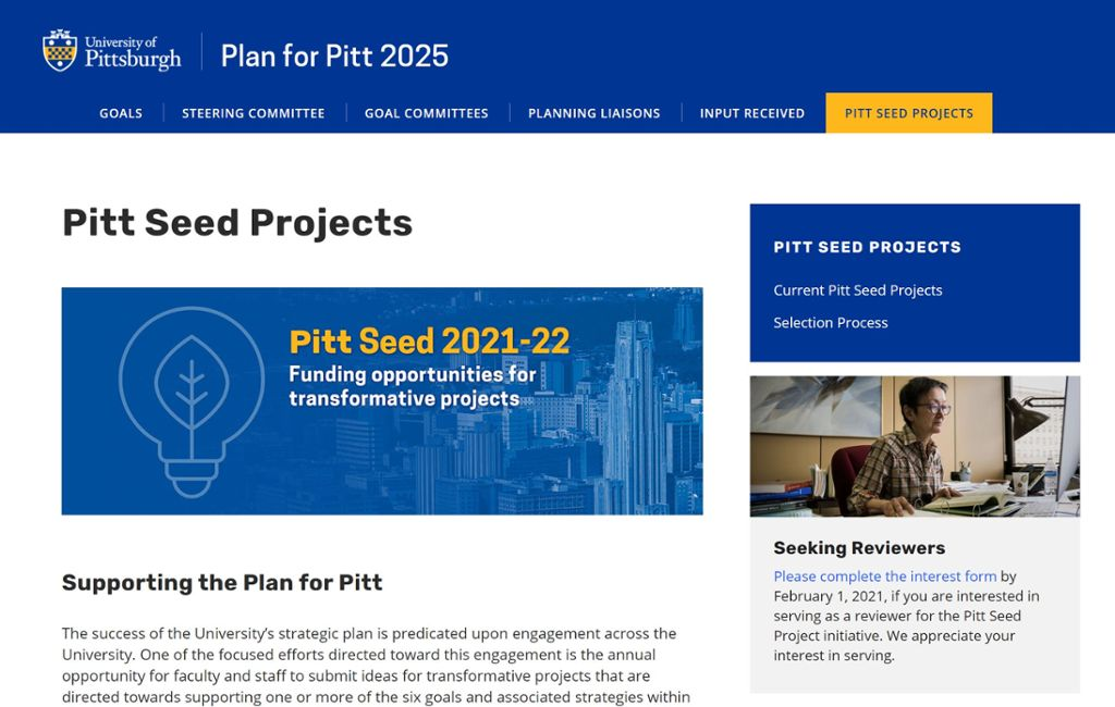 Image of Pitt Seed site with the PittSeed logo of a lightbulb and leaf icon.