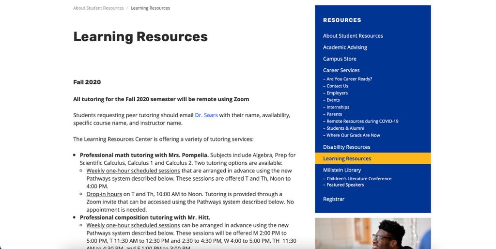 Learning Resources webpage image